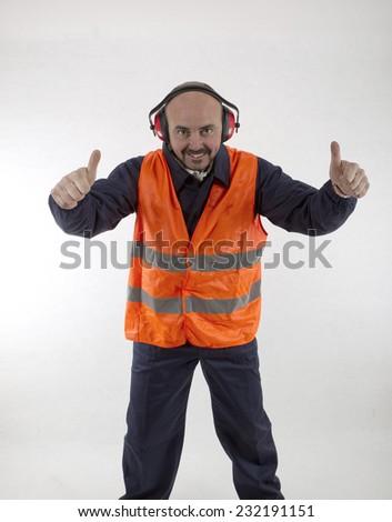 Happy track operator - stock photo