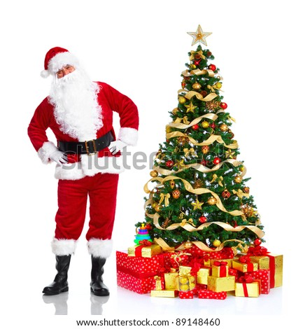 Happy traditional Santa Claus. Christmas Tree. Isolated on white background. - stock photo