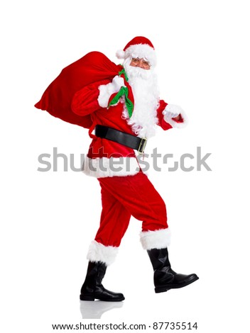 Happy traditional Santa Claus running with bag. Christmas. Isolated on white background. - stock photo