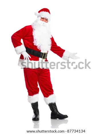 Happy traditional Santa Claus showing a copyspace. Christmas. Isolated on white background. - stock photo