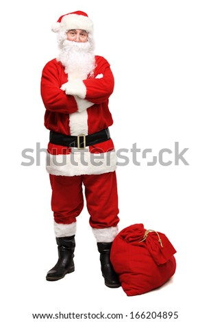 Happy traditional Santa Claus walking with bag. Christmas. Isolated on white background - stock photo
