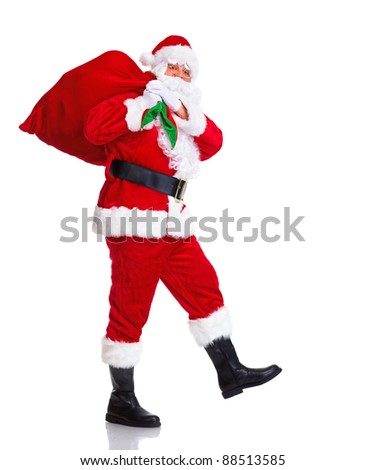 Happy traditional Santa Claus walking with bag. Christmas. Isolated on white background. - stock photo