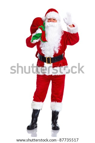 Happy traditional Santa Claus with bag. Christmas. Isolated on white background. - stock photo