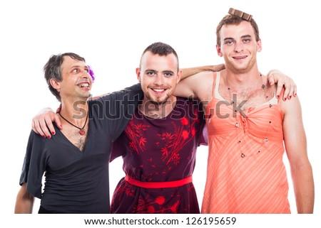 Happy transvestites cross-dressing, isolated on white background. - stock photo