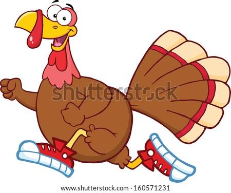 Happy Turkey Bird Cartoon Character Jogging. Raster Illustration - stock photo