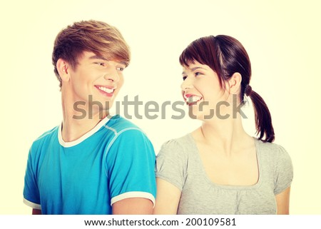Happy two friend looking each other. - stock photo