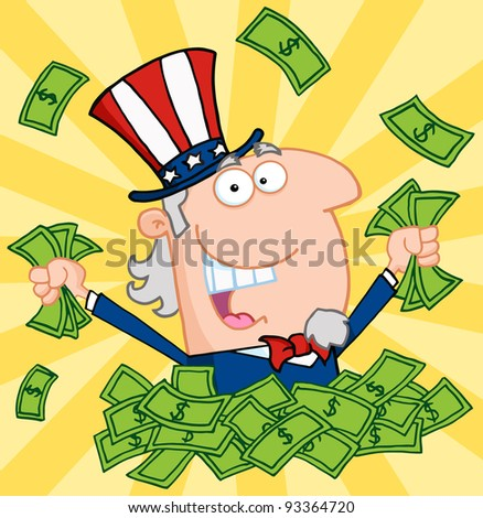 Happy Uncle Sam Playing In A Pile Of Money - stock photo