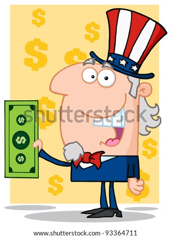 Happy Uncle Sam With Holding A Dollar Bill - stock photo