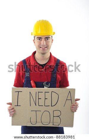 happy unemployed worker hoping to get a job - stock photo