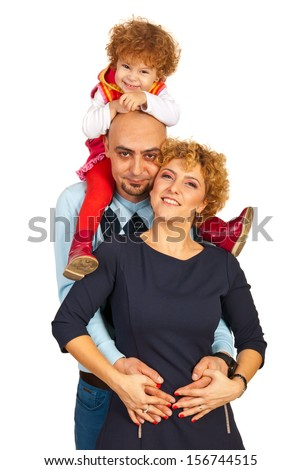 Happy united family giving piggy back to their daughter isolated on white background - stock photo