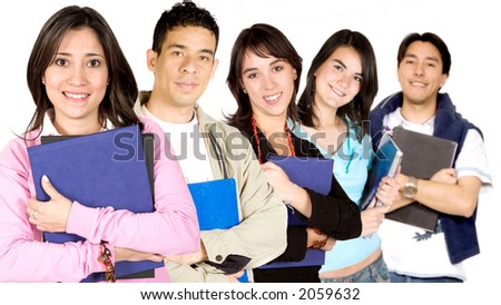 happy university students ove a white background - focus on girl in pink - stock photo