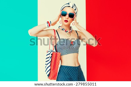 Happy Vacation lady. Marine style fashion - stock photo