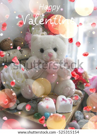 Cute White Teddy Bear With Roses And Hearts