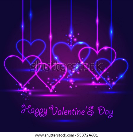 Schön Happy Valentine Day Card In Neon Style On Dark Violet Background.