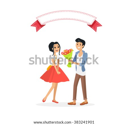 Happy valentine day couple on date. Man give flower woman. Valentine and day, couple and valentines day, happy valentine, couple in love, young couple, love and happy couple, flower and event - stock photo