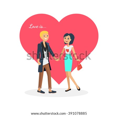 Happy valentine day couple on date. Man hold woman. Valentine and day, couple and valentines day, happy valentine, couple in love, young couple, love and happy couple, flower and event. Love is - stock photo