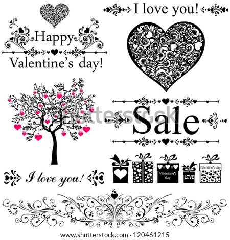 Happy valentine day decor. Collection of design elements vintage set isolated on White background.  illustration - stock photo