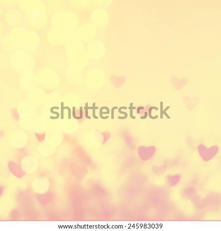 Happy Valentine's day Abstract   Defocused Bokeh twinkling lights Vintage background. Beautiful Illustration with  Red love hearts boke - stock photo