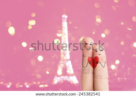Happy Valentine's Day and 8 March finger art theme series. Lovers is embracing and holding red heart. Stock Image. There is path included in image. You can easily cut out fingers from the background.  - stock photo