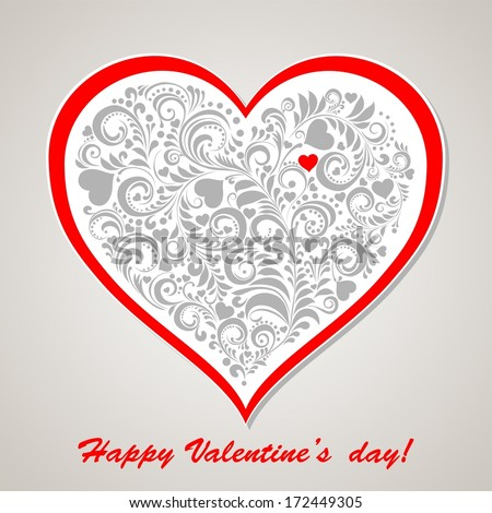 Happy Valentine's day! Celebration background with heart and place for your text.  Illustration  - stock photo