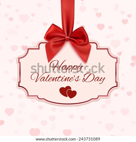 Happy Valentine's day classic banner with red ribbon and a bow - stock photo