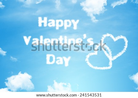 Happy Valentine's Day cloud text with heart  on bright blue sky - stock photo