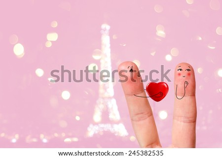 Happy Valentine's Day finger art theme series. Painted fingers smile and love. Paris. Stock Image There are path included in image. You can easily cut out fingers from the background.  - stock photo
