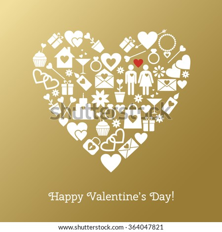 Happy Valentine's Day greeting card with festive elements on a gold background. Raster version - stock photo