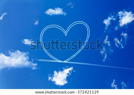 Happy Valentine's day. Heart on the sky with clouds.