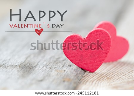 Happy Valentine's day hearts. Happy Valentine's day red hearts on wooden background - stock photo