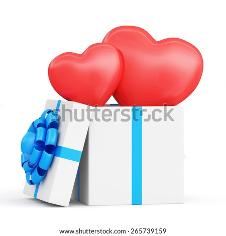 Happy Valentine's Day or Declaration of Love. Opened Gift box with two shiny big red Hearts inside isolated on white background - stock photo