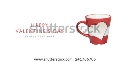 Happy Valentine's Day, Paper heart shape on romantic red mug with place for your text, isolated on white background - stock photo