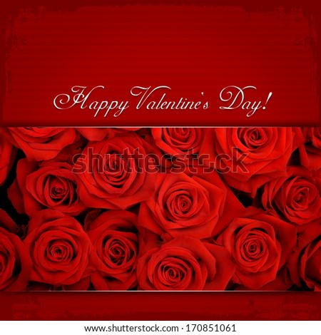 Happy Valentine's Day & Red roses - stock photo