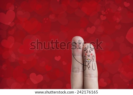 Happy Valentine's Day theme series. Finger art of a Happy couple. Stock Image Path included in image. You can easily cut out fingers from the background. And insert them into a different scene  - stock photo