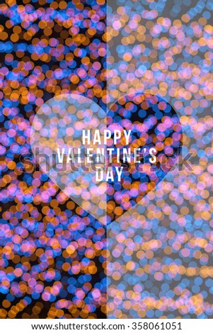 Happy Valentine's day with heart in festive gold and blue blur bokeh background; use for love concept - stock photo