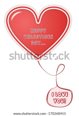 """Happy Valentines Card With Red Heart and a Pink Balloon With """"I Love You"""" Text inside it. - stock photo"""