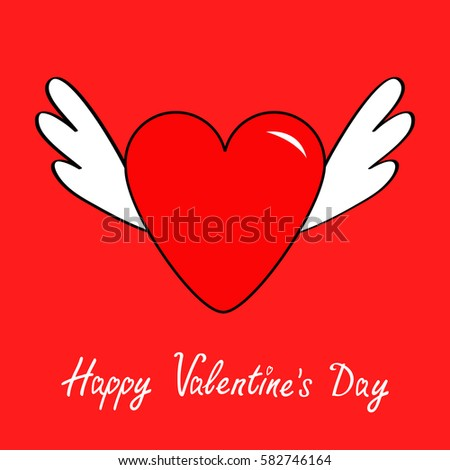 Happy Valentines Day Big Heart Wings Stock Illustration 582746164