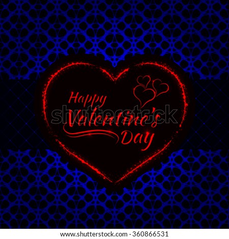 Happy Valentines day blue lights card, heart and text lights design on dark background - stock photo