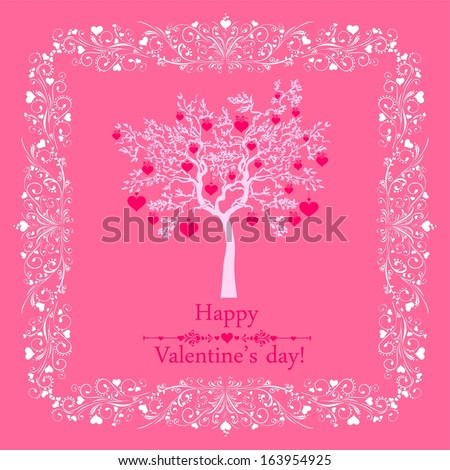 Happy valentines day card. Celebration pink background with hearts, tree and place for your text. Illustration  - stock photo