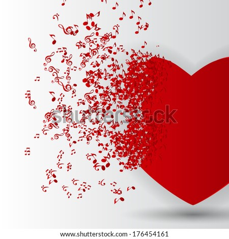 Happy Valentines Day Card  with Heart, Music Notes.  Illustration