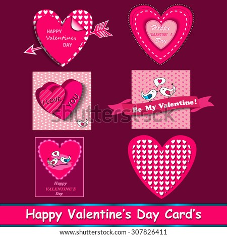 happy valentines day cards set with ornaments, hearts, ribbon, birds and arrow - stock photo