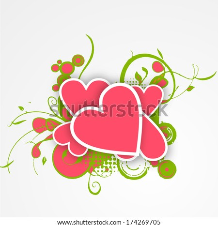 Happy Valentines Day celebration concept with pink heart shapes on grey background.