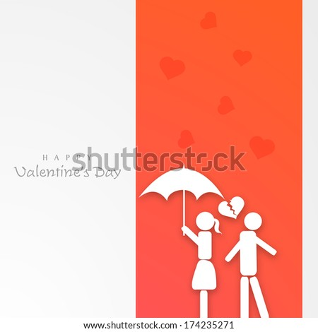 Happy Valentines Day celebration greeting card design with white silhouette of young couple under umbrella on red and grey background.