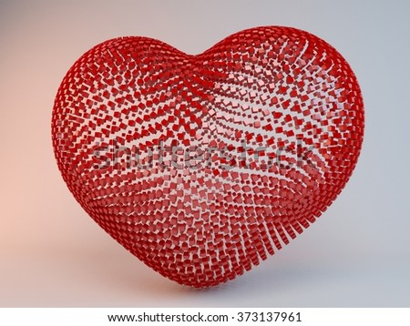 Happy Valentines Day.3D illuminated neon heart of glowing particles and wireframe.