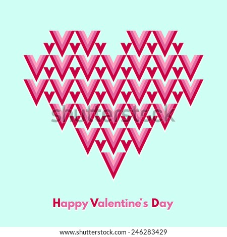 Happy Valentines Day greeting card. Abstract geometrical heart with lettering. Conceptual, minimalist. Raster version. - stock photo