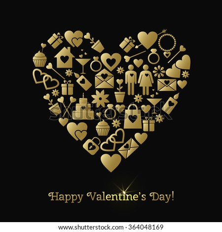 Happy Valentines Day greeting card with gold elements on a black background. Raster version - stock photo
