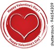 Happy valentines day grunge stamp isolated on white - stock photo