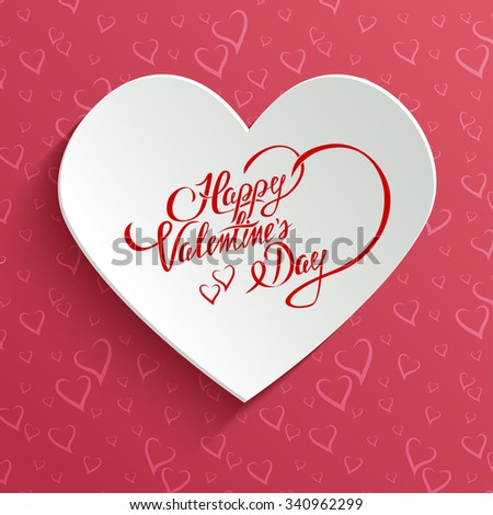 Happy Valentines Day Hand lettering Greeting Card on 3d Heart with Shadow over Seamless Pattern with Stylized Hearts. Typographical Background - stock photo