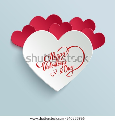 Happy Valentines Day Hand lettering Greeting Card on 3d Heart with Shadow. Typographical Background. Handmade calligraphy - stock photo