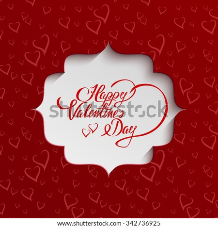 Happy Valentines Day Hand lettering Greeting Card on Paper Cut Banner from Seamless Pattern with Stylized Hearts. Typographical Background - stock photo